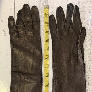 Accessories - Vintage Foley's brown leather long gloves